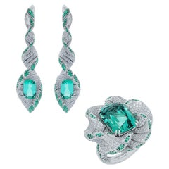 Lagoon Tourmaline Diamonds Emeralds 18 Karat White Gold DNA Suite