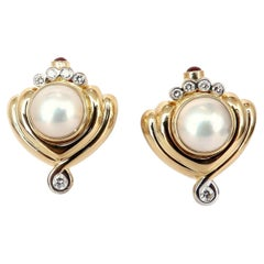 Lagos Mabe Pearls .60ct Diamonds Clip Earrings 18kt Gold