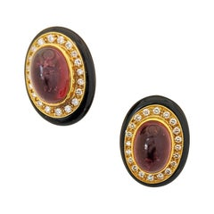 Lagos 18 Karat Gold, Pink Tourmaline Earrings with Diamonds and Black Onyx