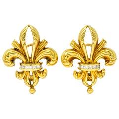 Lagos 1990s Vintage Diamond 18 Karat Gold Fleur-De-Lis Earrings