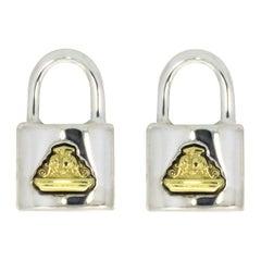 Lagos Beloved Lock Mixed Metals Stud Earrings
