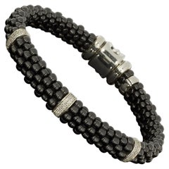 Lagos Black Caviar Sterling Silver 0.26 Carat Round Diamond Beaded Bracelets