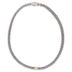 Lagos Caviar Beaded Single Station Diamond Sterling Silver 18 Karat YG Necklace