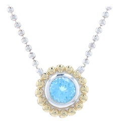 Lagos Caviar Blue Topaz Solitaire Necklace Sterling & Gold -925 18k Round 1.00ct