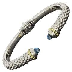 Lagos Caviar Color Mixed Metals Cabochon Blue Topaz Cuff Bracelet