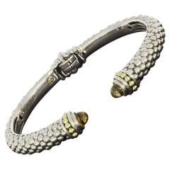 Lagos Caviar Color Silver & Gold Cabochon Citrine Cuff Bracelet