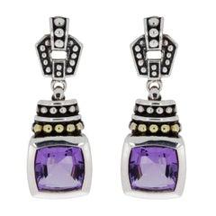 Lagos Caviar Color Silver & Gold Cushion Cut Amethyst Drop/Dangle Earrings