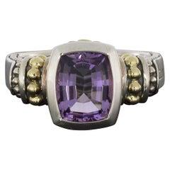 Lagos Caviar Color Silver & Gold Cushion Cut Amethyst Ring