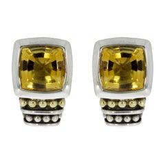 Lagos Caviar Color Mixed Metals Cushion Cut Citrine Stud Earrings