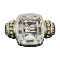 Lagos Caviar Color Silver and Gold Cushion White Topaz Ladies Ring