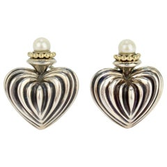 Lagos Caviar Fluted Heart Sterling Silver, 18 Karat Gold and Pearl Earrings