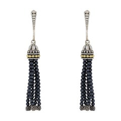 Lagos Caviar Icon Silver & Gold Hematite Beaded Tassel Drop/Dangle Earrings