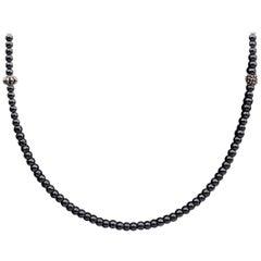 Lagos Caviar Icon Sterling Silver Round Hematite Necklace