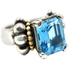 Lagos Caviar Ladies Sterling Silver and 18 Karat Yellow Gold Blue Topaz Ring