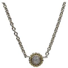 Lagos Caviar Lux Gold and Silver 0.07 Carat Round Diamond Pendant