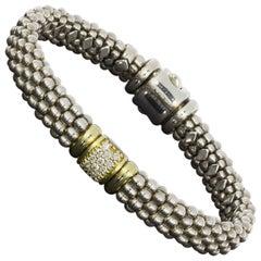 Lagos Caviar Lux Mixed Metals 0.28 Carat Round Diamond Beaded Bracelets