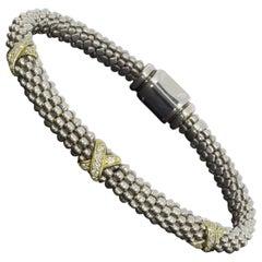 Lagos Caviar Lux Sterling Silver 0.21 Carat Round Diamond Beaded Bracelets