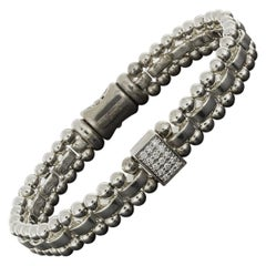 Lagos Caviar Spark Pave Diamond Center Sterling Silver Chain Bracelet
