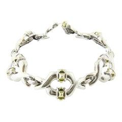 Lagos Caviar Sterling Silver 18 Karat Yellow Gold Link Bracelet