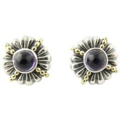 Lagos Caviar Sterling Silver 18 Karat Yellow Gold Amethyst Round Earrings