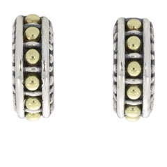 Lagos Classic Caviar Gold and Silver Beaded Hoop Earrings