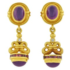 Lagos Contemporary Amethyst, Ruby and Diamond Drop Earrings