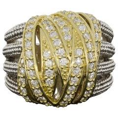 Lagos Embrace Silver & Gold 1.05 Carat Diamond Wide Caviar Beaded Ring