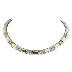 Lagos High Bar Silver & Gold 9-Station Caviar Necklace