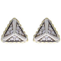 Lagos KSL Mixed Metals 0.23 Carat Round Diamond Studded Earrings
