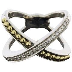 Lagos KSL Mixed Metals 0.29 Carat Round Diamond Statement Ladies Fashion Ring
