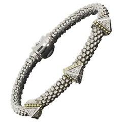 Lagos KSL SIlver & Gold 0.37 Carat 3 Diamond Pyramid Caviar Bracelet