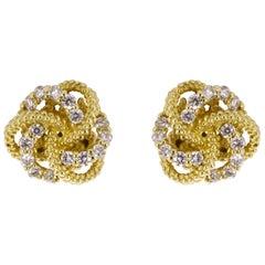 Lagos Love Knot Yellow Gold 0.12 Carat Round Diamond Studded Earrings
