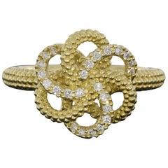 Lagos Love Knot Yellow Gold 0.16 Carat Round Diamond Ladies Fashion Ring