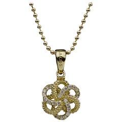 Lagos Love Knot Yellow Gold 0.24 Carat Round Diamond Pendant