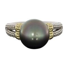 Lagos Luna Mixed Metals Tahitian Pearl Solitaire Ring