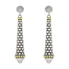 Lagos Signature Caviar Mixed Metals 0.42 Carat Round Diamond Drop Earrings