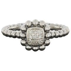 Lagos Sterling Silver 0.08 Carat Diamond Caviar Spark Ring