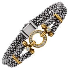 Lagos Sterling Silver 18 Karat Gold Diamond Enso Circle Game Caviar Bracelet