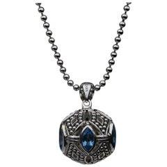 Lagos Talisman Sterling Silver Marquise Cut Blue Topaz Pendant