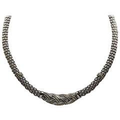 Lagos Torsade Silver & Gold Knot Center Caviar Necklace