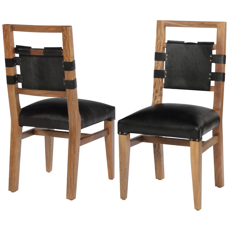 Laguna Harness Stud Chair by Peter Glassford, Rosamorada Wood and Leather For Sale