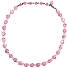 Laguna Pink Rose Faceted Crystal Bead Necklace with Vintage Brass Hook Clasp