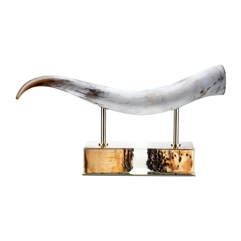 Laguna Sculpture in Horn and Briccola Wood, Mod. 1615 For Sale