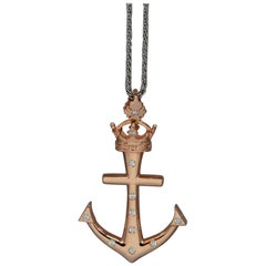 "Custom ""Lahaina Anchor"" Pendant in 20 Karat Gold, 0.26ct Diamonds, Medium"