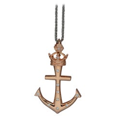 "Custom ""Lahaina Anchor"" Pendant in 20 Karat Gold, 0.60ct Diamonds, Large"