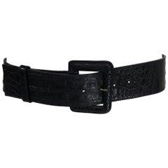 LAI Wide Black Crocodile Belt 32