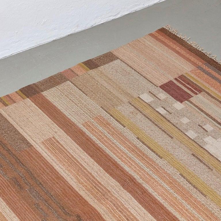 Mid-Century Modern Laila Karttunen Finnish Flat-Weave Carpet for Kiikan Mattokutomo, 1930s For Sale
