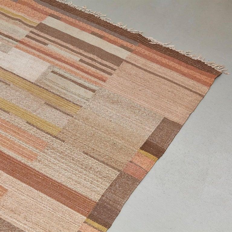 Swedish Laila Karttunen Finnish Flat-Weave Carpet for Kiikan Mattokutomo, 1930s For Sale