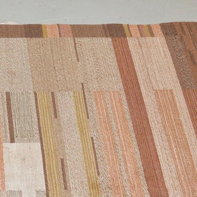 Hand-Woven Laila Karttunen Finnish Flat-Weave Carpet for Kiikan Mattokutomo, 1930s For Sale