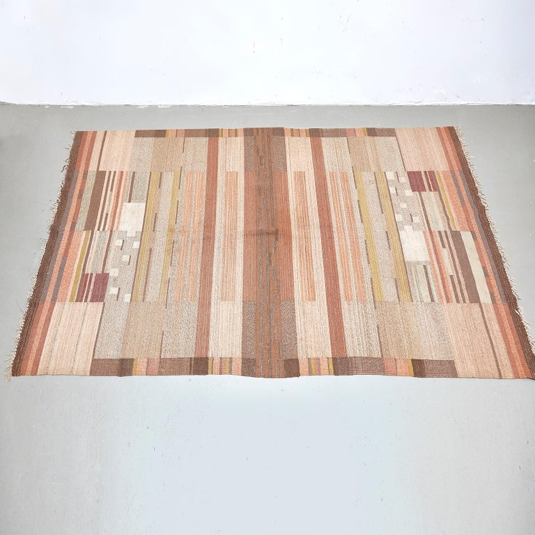 Wool Laila Karttunen Finnish Flat-Weave Carpet for Kiikan Mattokutomo, 1930s For Sale